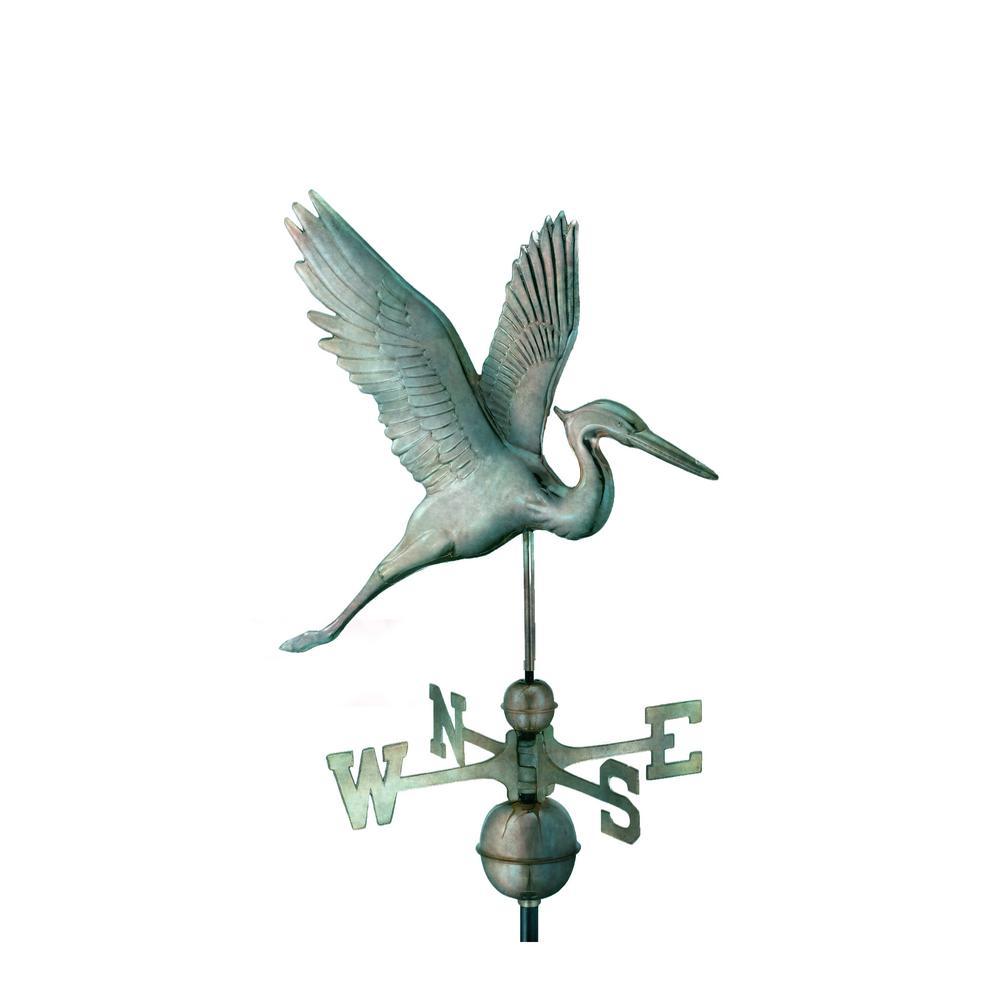Graceful Blue Heron Weathervane - Blue Verde Copper