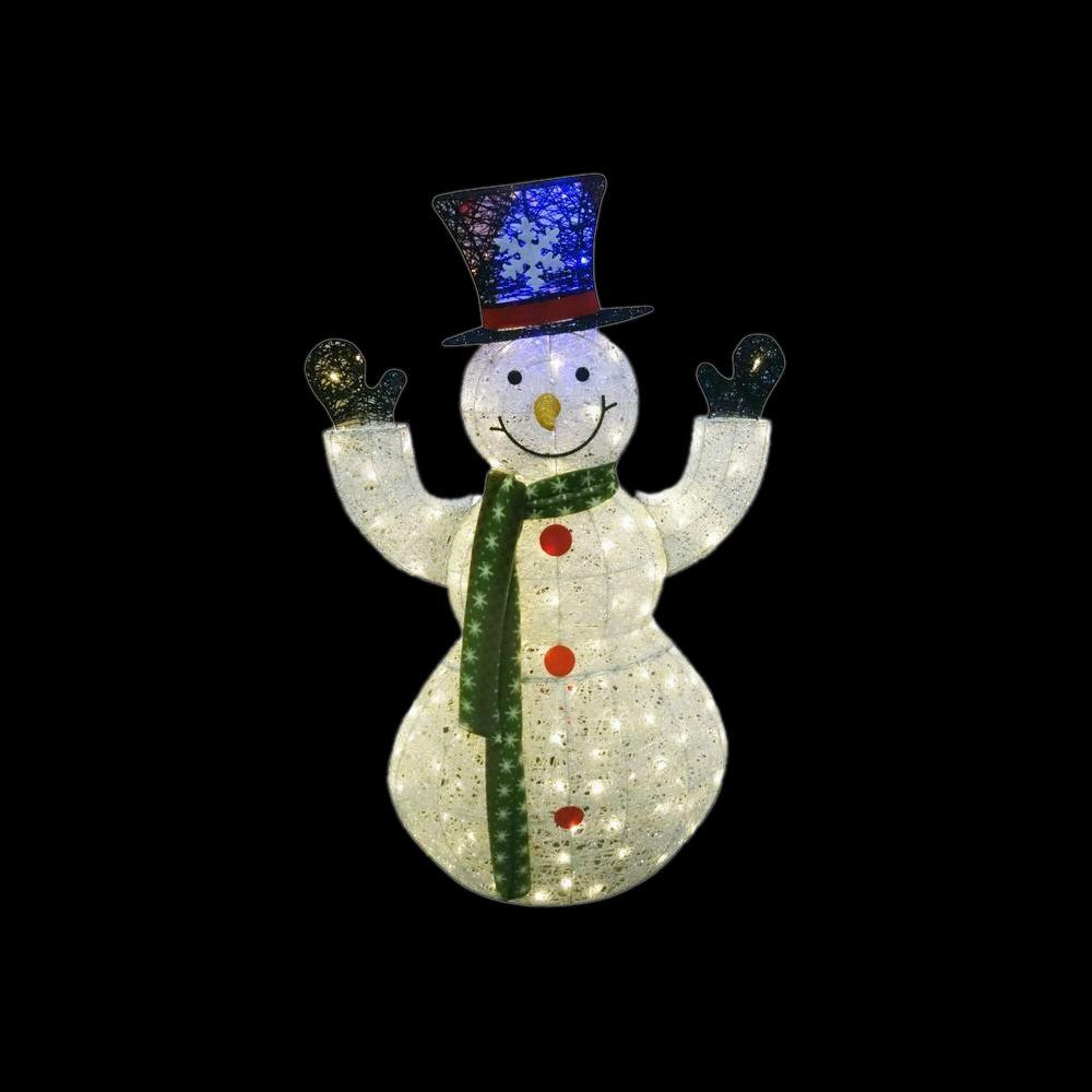Alpine 50 in white thread snowman decor with 100 led for Alpine decoration