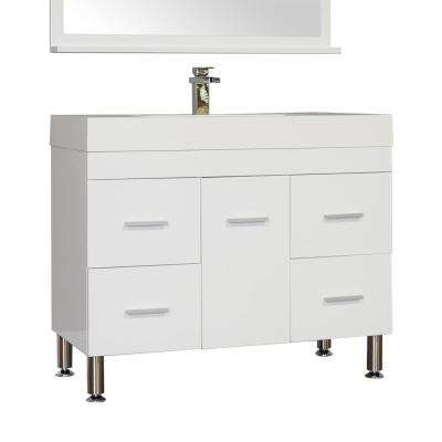 Ripley 39.25 in. W x 18.75 in. D x 33.12 in. H Vanity in White with Acrylic Vanity Top in White with White Basin