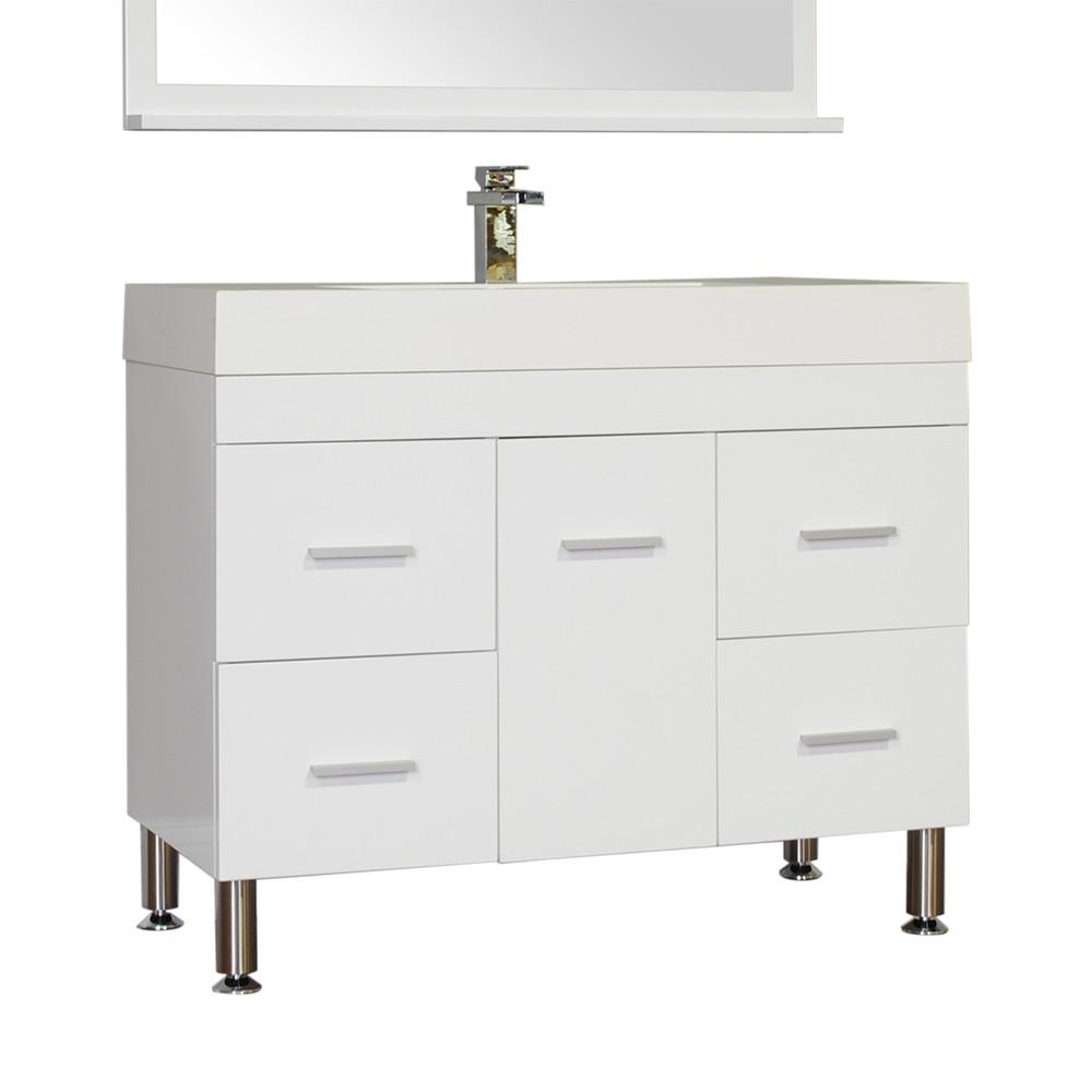 Alya Bath Ripley 39.25 in. W x 18.75 in. D x 33.12 in. H Vanity in White with Acrylic Vanity Top in White with White Basin