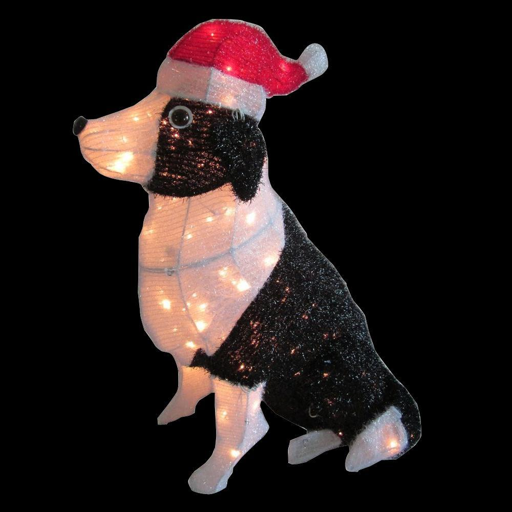Home accents holiday 30 in pre lit tinsel dog with santa for Find christmas decorations
