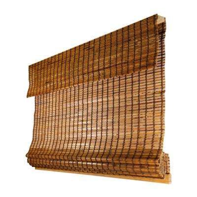Premium True-to-size Brown Beaver Cordless Light Filtering Natural Woven Bamboo Roman Shade 39 in. W X 64 in. L