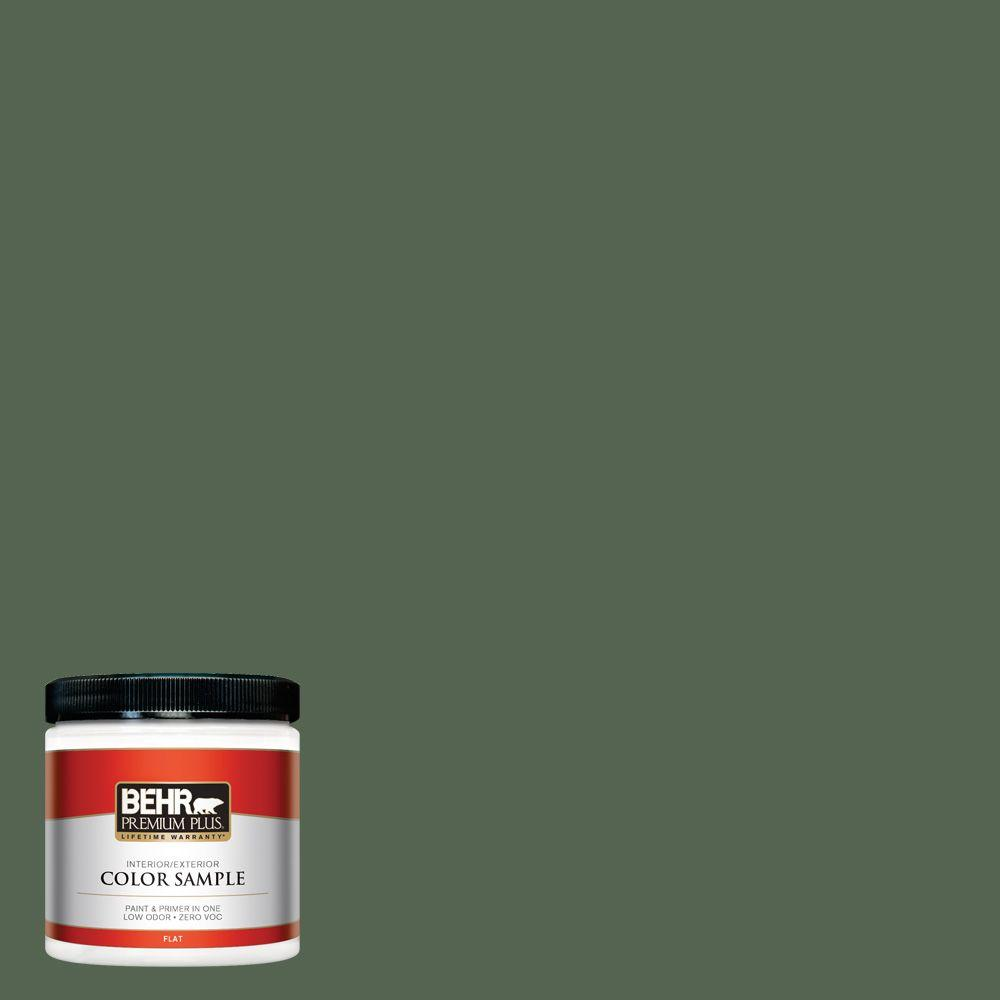 BEHR Premium Plus 8 oz. #S410-7 Equestrian Green Interior/Exterior Paint Sample