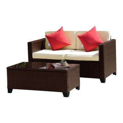 Juliaca Brown 2-Piece Wicker Outdoor Loveseat and Table with Tan Cushions