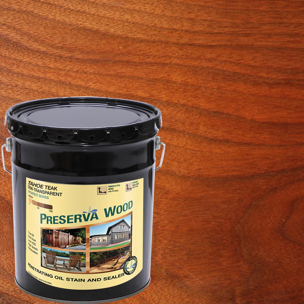 5 gal. Tahoe Teak Semi-Transparent Oil-Based Wood Stain