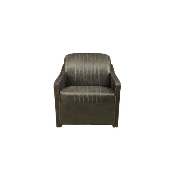 Winchester Aluminum and Distressed Espresso Top Grain Leather Chair