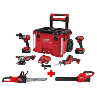 M18 FUEL 18-Volt Lithium-Ion Brushless Cordless Combo Kit (4-Tool) with M18 FUEL Blower, Chainsaw and PACKOUT Tool Box