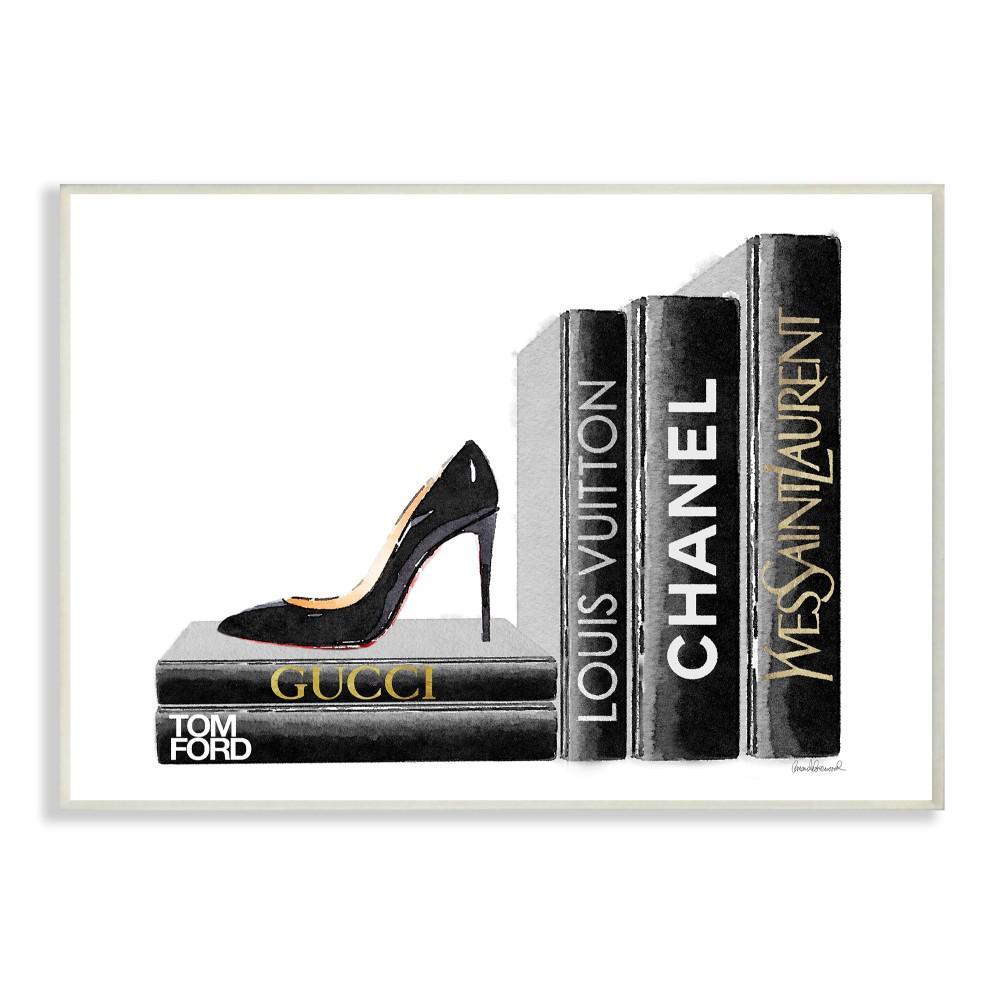 """12.5 in. x 18.5 in. """"High Fashion Black Book Shelf with Stilettos Heel"""" by Artist Amanda Greenwood Wood Wall Art"""