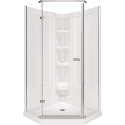 38 in. x 38 in. x 72 in. Semi-Frameless Neo Angle Corner Shower in White
