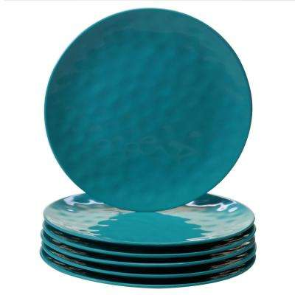 6-Piece Teal Dinner Plate Set