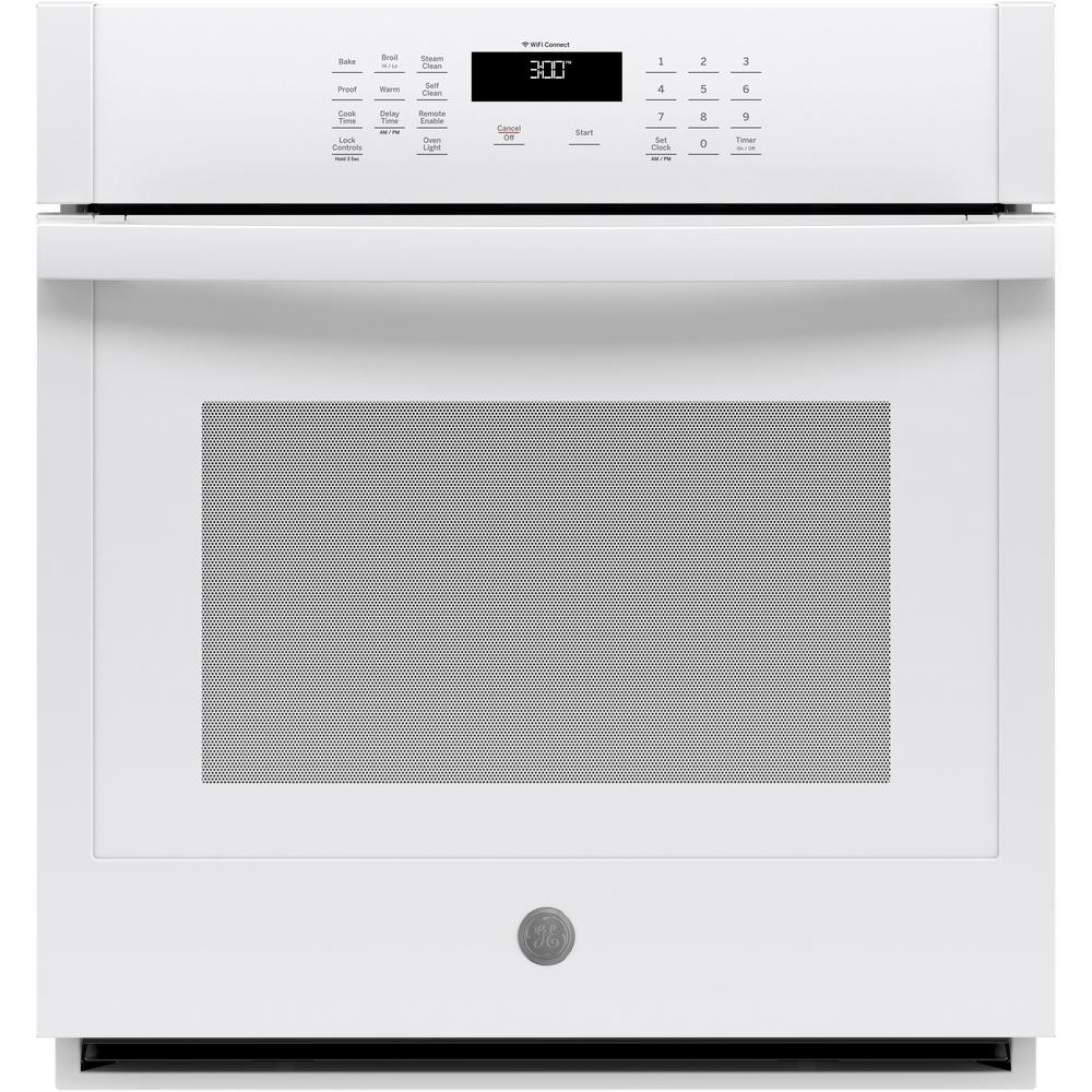 GE 27 in. Smart Single Electric Wall Oven Self-Cleaning in White
