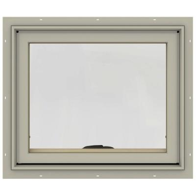 24 in. x 20 in. W-2500 Series Desert Sand Painted Clad Wood Awning Window w/ Natural Interior and Screen