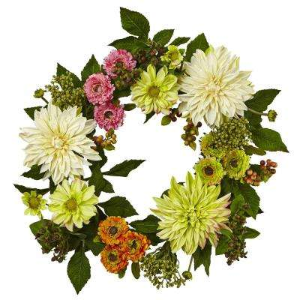 22 in. Dahlia Mum Wreath