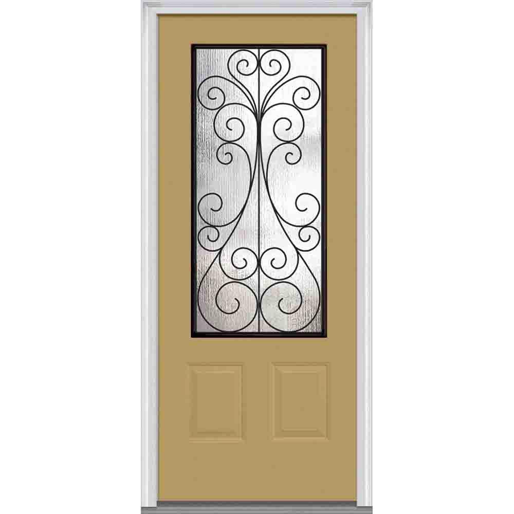 Mmi door 37 5 in x in camelia decorative glass 3 4 for Decorative glass for entry doors