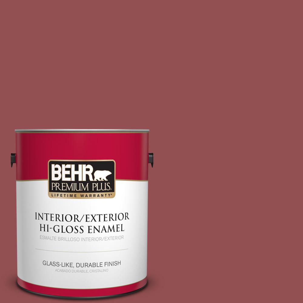 1 gal. #PPU1-08 Pompeian Red Hi-Gloss Enamel Interior/Exterior Paint