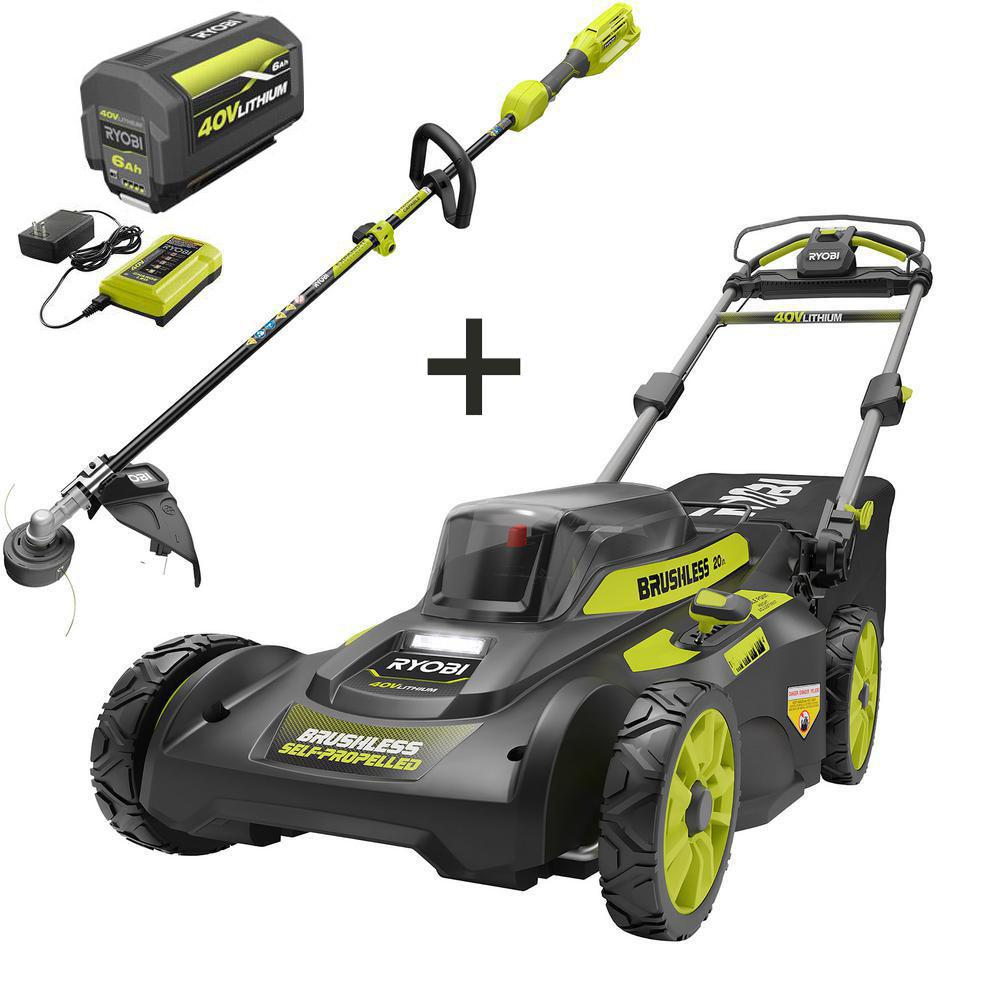 RYOBI 20in 40-Volt Brushless Lithium-Ion Cordless Walk Behind Self-Propelled Mower & Trimmer w/6.0 Ah Battery & Charger