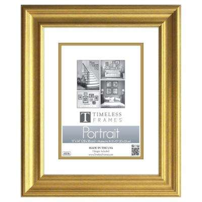 Lauren 1-Opening 11 in. x 14 in. Gold Matted Picture Frame