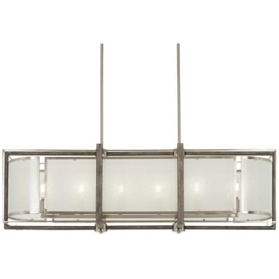 Tyson's Gate 6-Light Brushed Nickel with Shale Wood Billiard Light