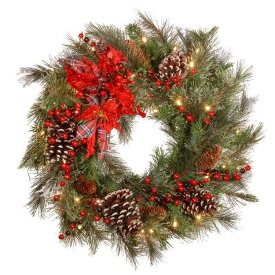 24 in. Decorative Collection Tartan Plaid Artificial Wreath with Battery Operated Warm White LED Lights