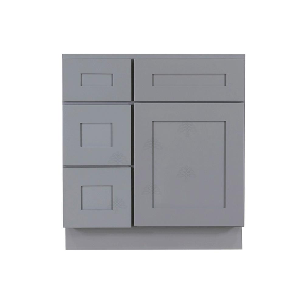 LIFEART CABINETRY Shaker Assembled 30 in. W x 21 in. D x 33 in. H Vanity Cabinet Only with 1 Door 2 Left Drawers in Gray