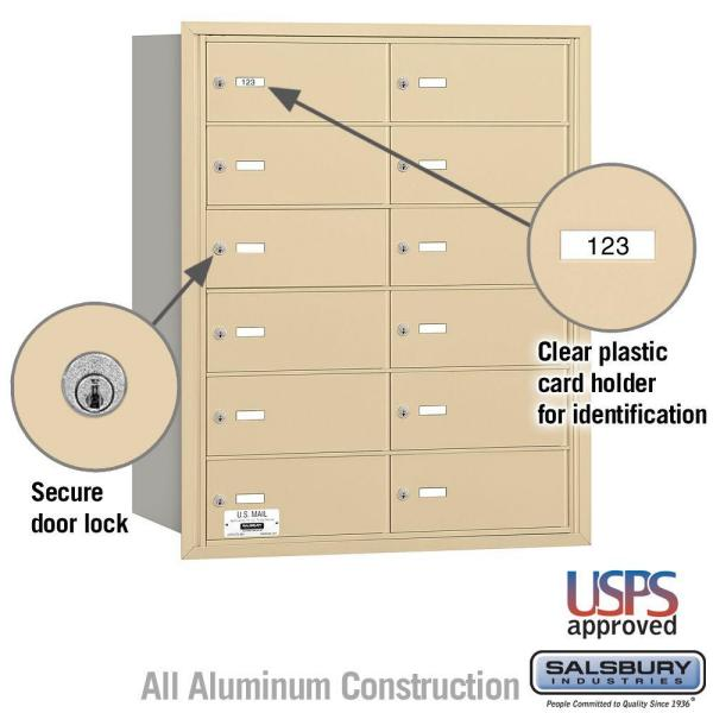 Salsbury Industries Sandstone Usps Access Rear Loading 4b Plus Horizontal Mailbox With 12b Doors 3612sru The Home Depot