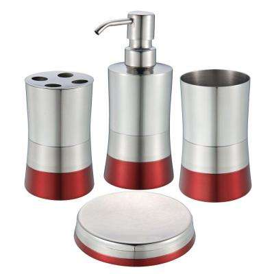 shiny matte colorblock bottom 4 piece bath accessory set in red