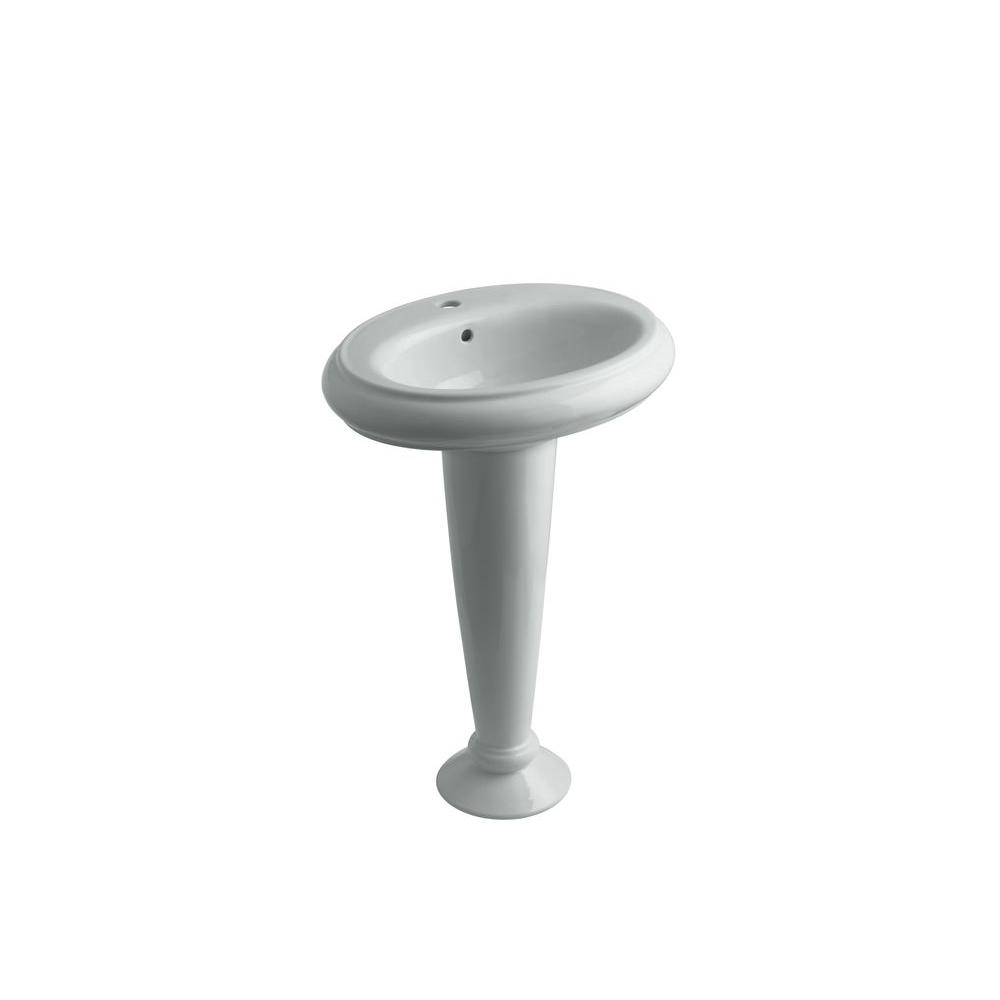 KOHLER Revival Pedestal Combo Bathroom Sink in Ice Grey
