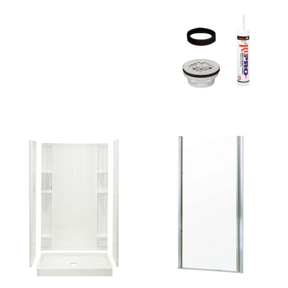 STERLING Ensemble Tile 34 in. x 42 in. x 75-3/4 in. Shower Kit with Shower Door in White/Chrome-DISCONTINUED