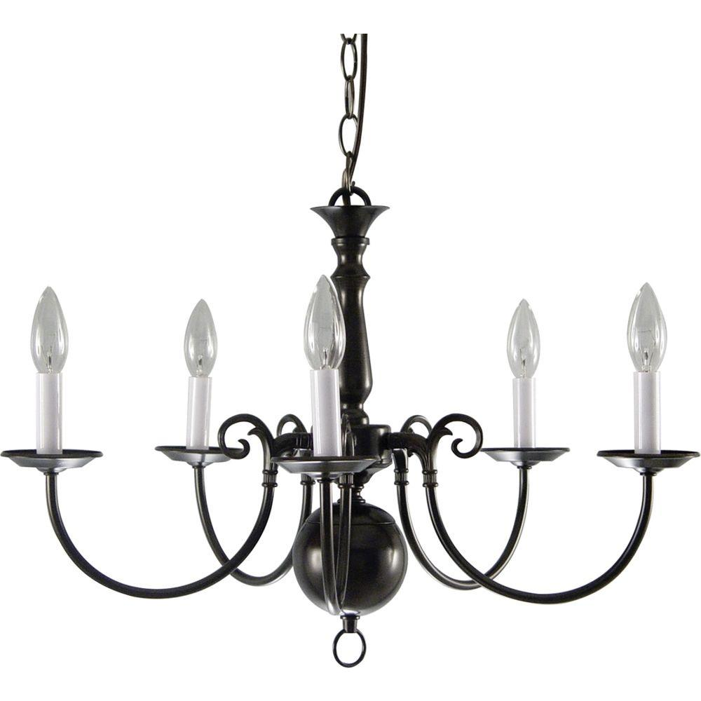 Volume Lighting 5 Light Antique Bronze Interior Chandelier