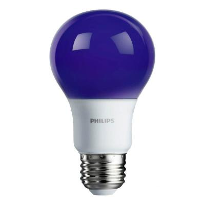 60-Watt Equivalent A19 Non-Dimmable Purple Colored LED Light Bulb (4-Pack)