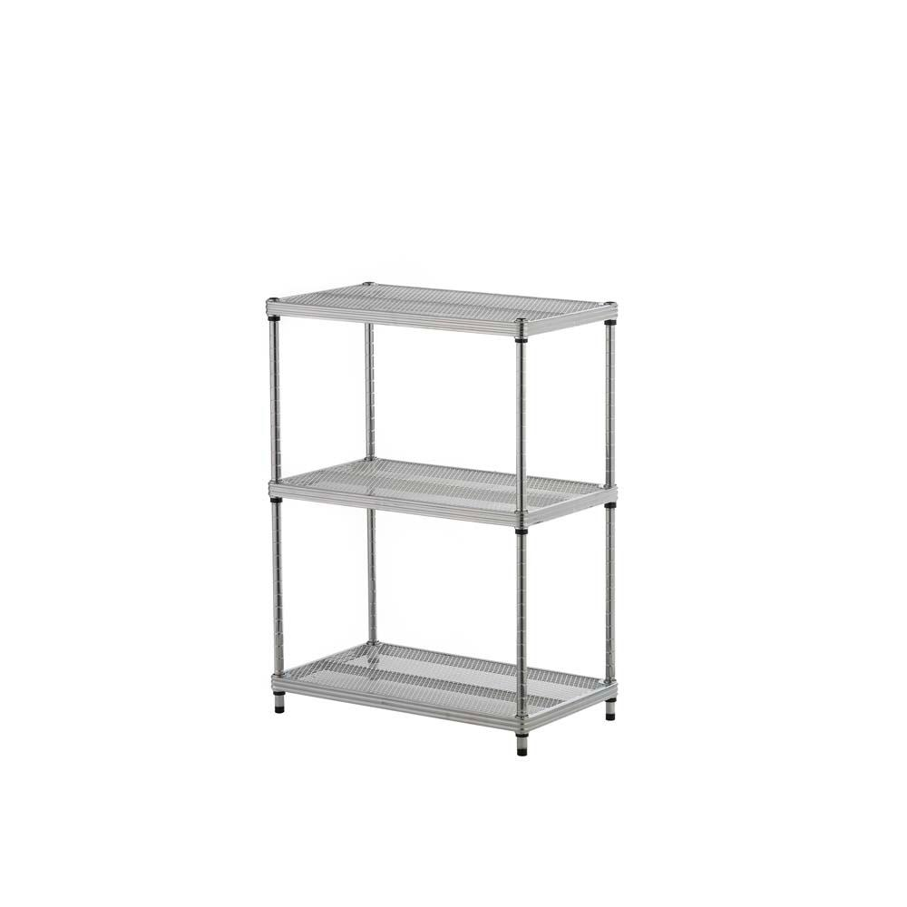 MeshWorks 3-Shelf Metal Silver Freestanding Shelving Unit