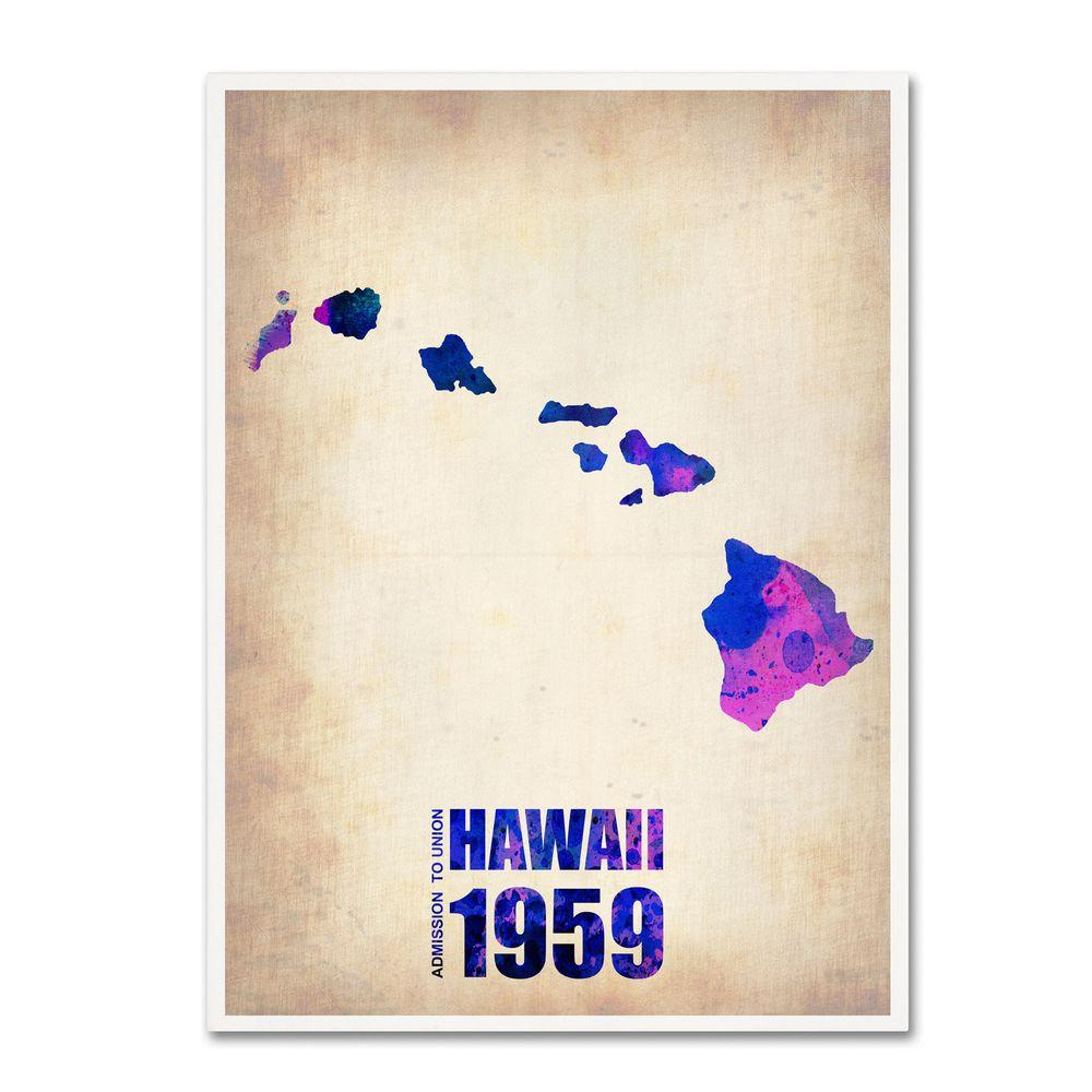 19 in. x 14 in. Hawaii Watercolor Map Canvas Art