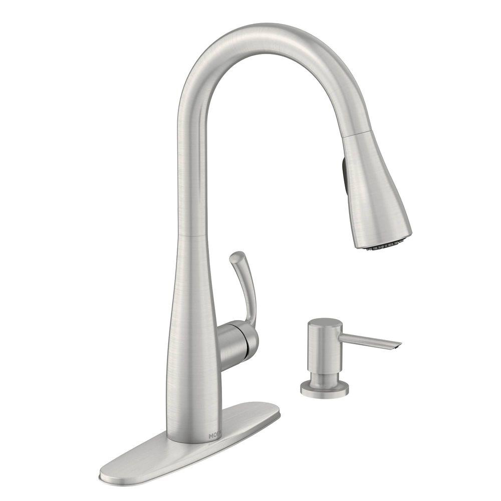 Moen Essie Single Handle Pull Down Sprayer Kitchen Faucet With Reflex And Power Clean In Spot Resist Stainless 87014srs The Home Depot