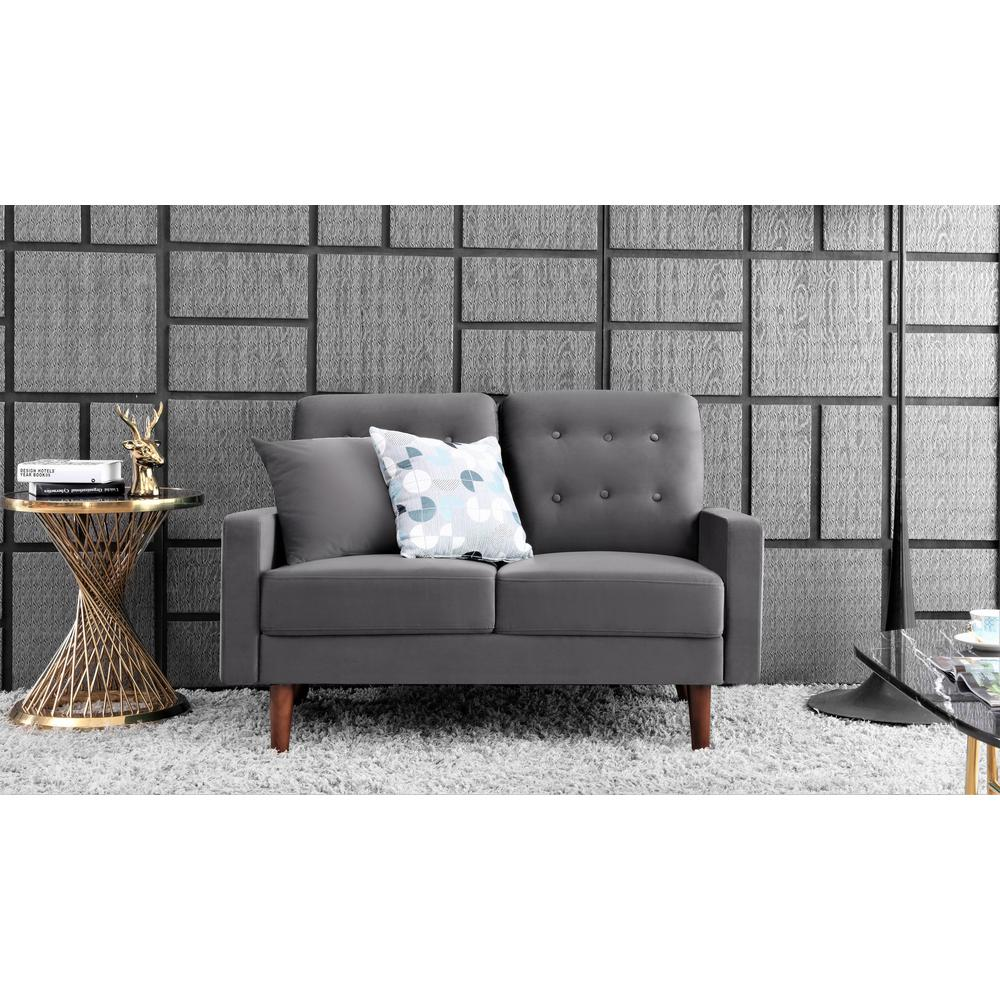 US Pride furniture Kelleher Tufted Velvet Loveseat Grey
