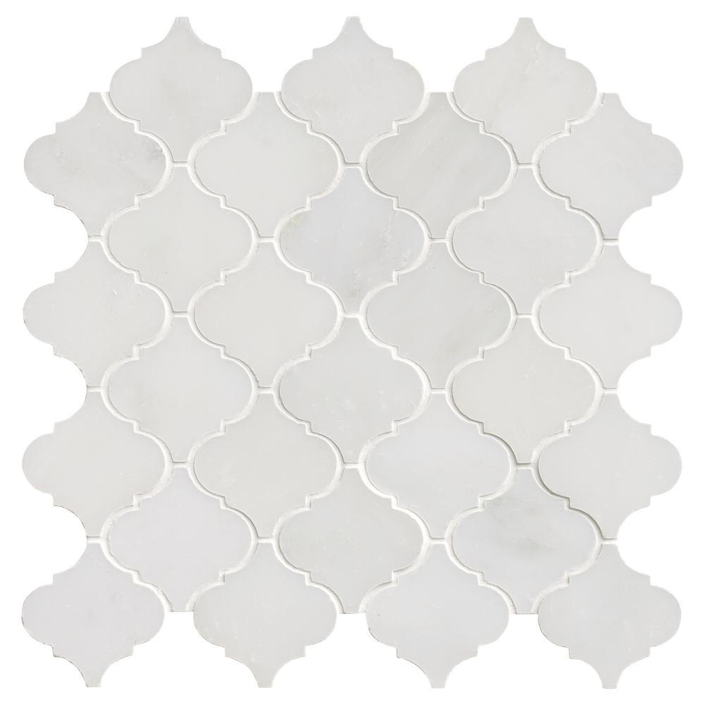 MSI Greecian White Arabesque 12 in. x 12 in. x 10 mm Polished Marble Mosaic Floor and Wall Tile (10 sq. ft./case)