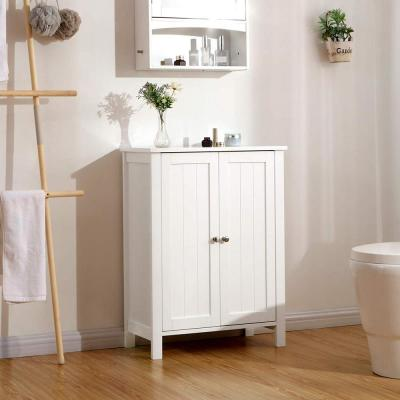 23.6 in. W Bathroom Floor Storage Cabinet with Adjustable Shelf in White