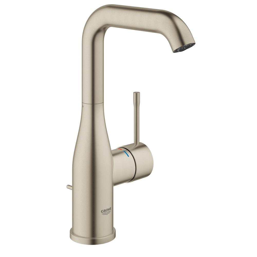 grohe essence new single hole single handle 1 2 gpm high arc bathroom faucet in brushed nickel. Black Bedroom Furniture Sets. Home Design Ideas