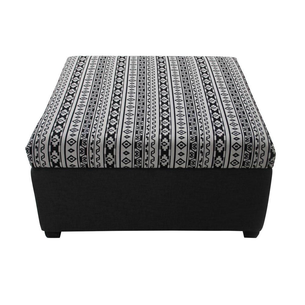 Carlsbad Black, White and Dark Gray Aztec-Patterned Fabric Storage Ottoman