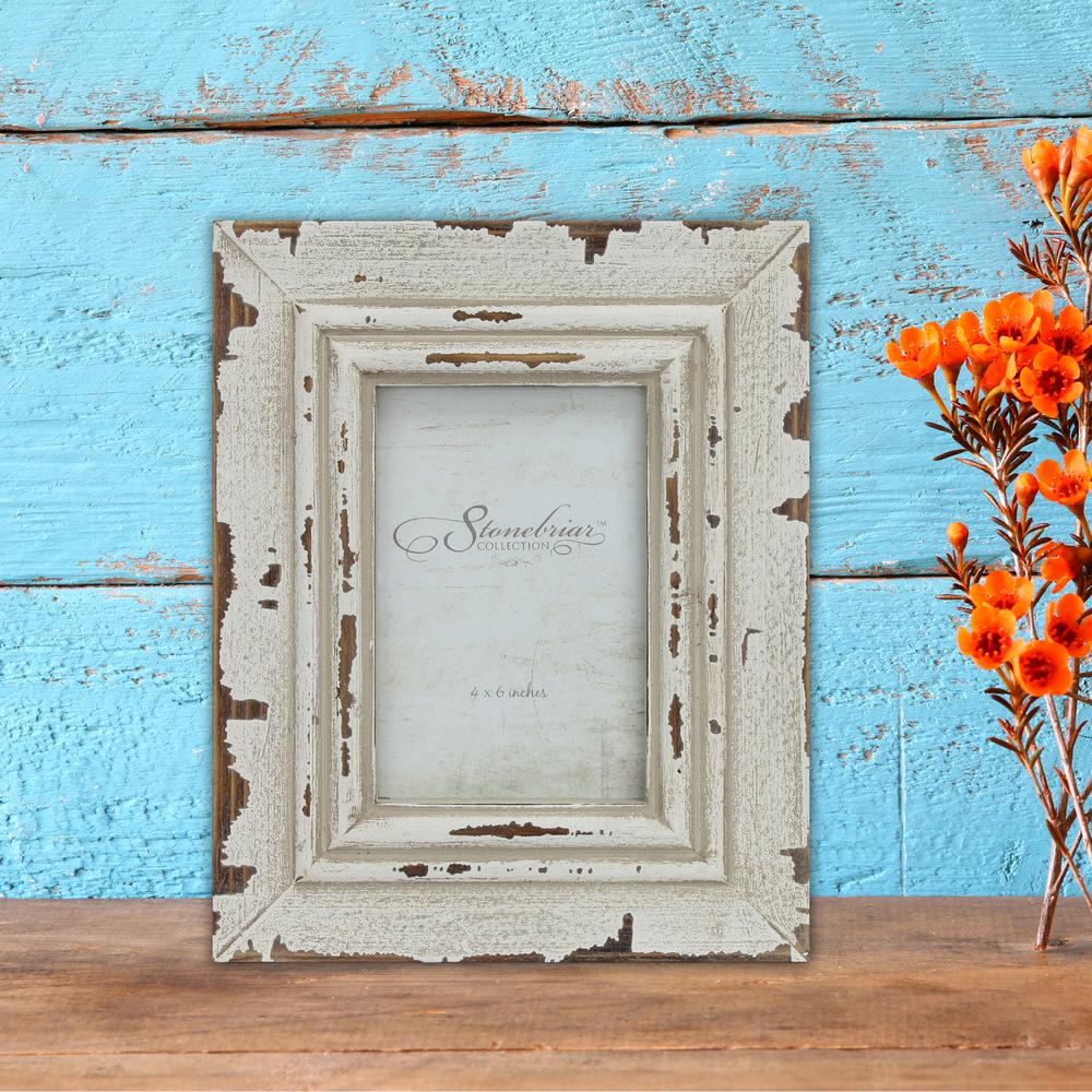Stonebriar Collection 1 Opening 4 In X 6 Weathered White Picture Frame