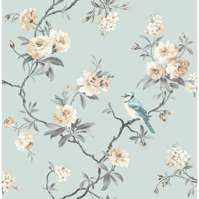 56.4 sq. ft. Chinoiserie Blue Floral Wallpaper