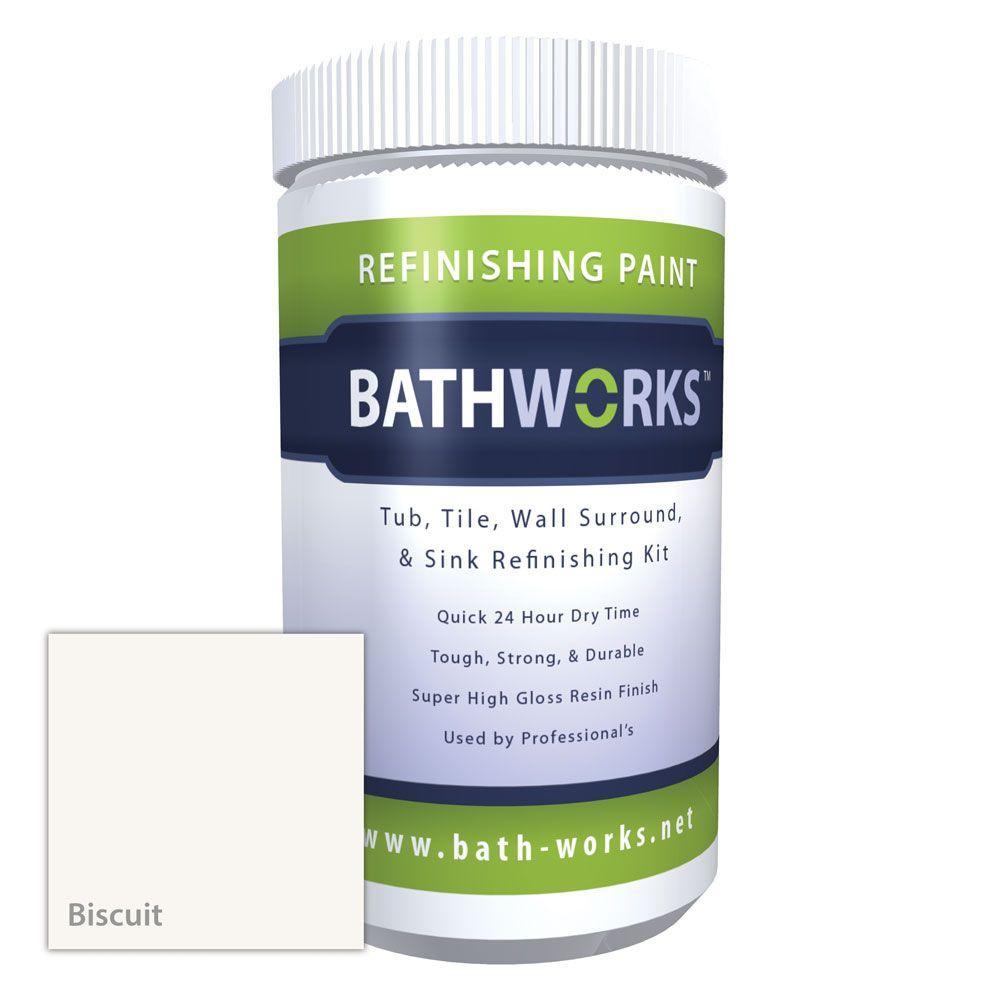BATHWORKS 20 oz. DIY Bathtub Refinishing Kit- Biscuit, Hi...