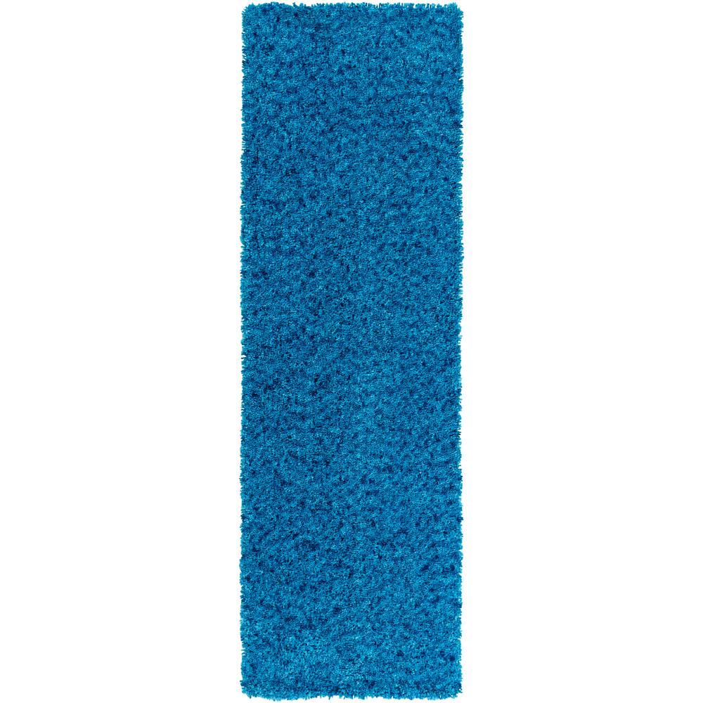 Charlie Bright Blue 3 ft. x 8 ft. Indoor Runner Rug