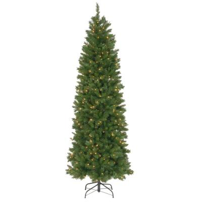 7-1/2 ft. Pennington Fir Hinged Pencil Artificial Christmas Tree with 350 Clear Lights