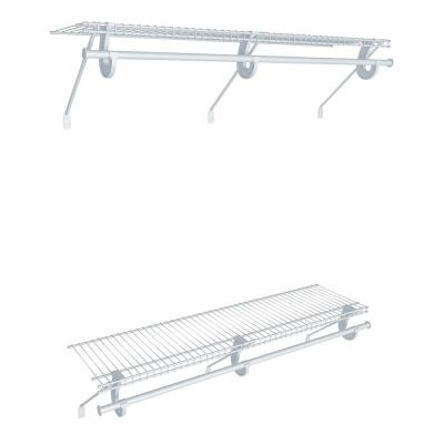 Superslide 12 in. D x 48 in. W x 36 in. H White Wire Fixed Mount Double Hang Reach In Closet Kit