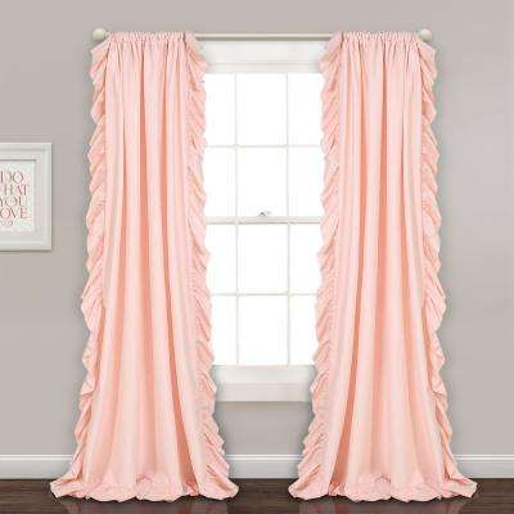 "Reyna Window Panels Blush Pink 84"" x 54"" 2-Pc Set 100% Polyester"