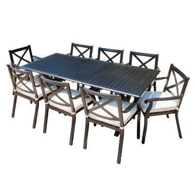 Raymond Black 9-Piece Cast Aluminum Rectangular Outdoor Dining Set with Expandable Table and Ivory Cushions