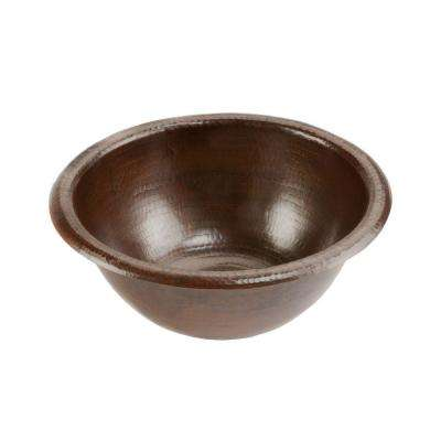 Self-Rimming Small Round Hammered Copper Bathroom Sink in Oil Rubbed Bronze