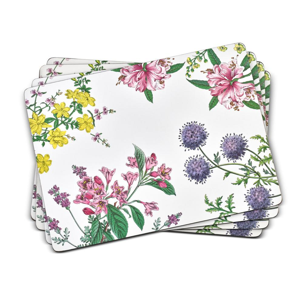 Pimpernel 11 7 In X 15 7 In Stafford Blooms White Mdf Cork Backed Placemats Set Of 4 2010649041 The Home Depot