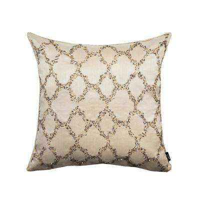 A1HC Bead Work Ogee 100% Polyester 18 in. x 18 in. Decorative Pillow