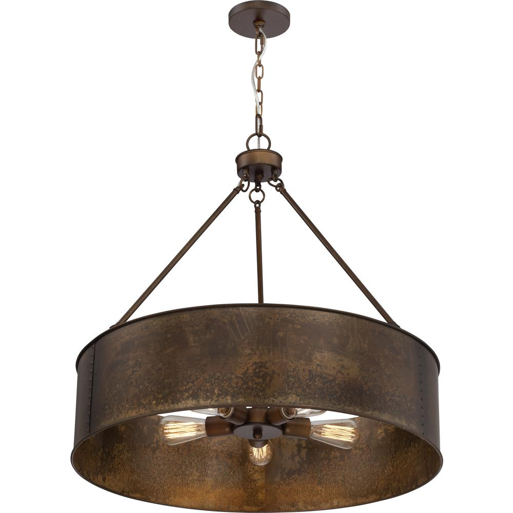 Filament Design 5-Light Weathered Brass Pendant-CLI-SC658952 - The Home Depot